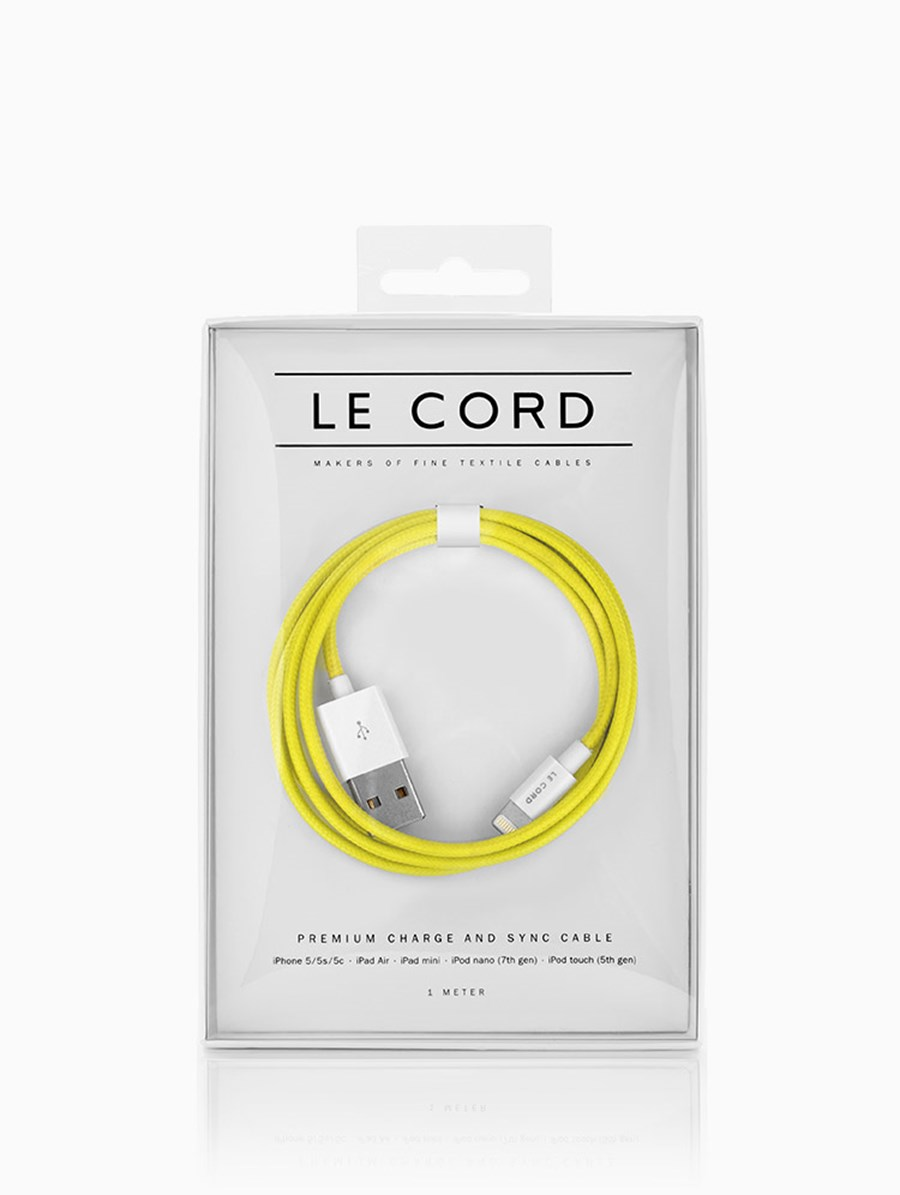 Le Cord Solid Yellow 1.2 Metre