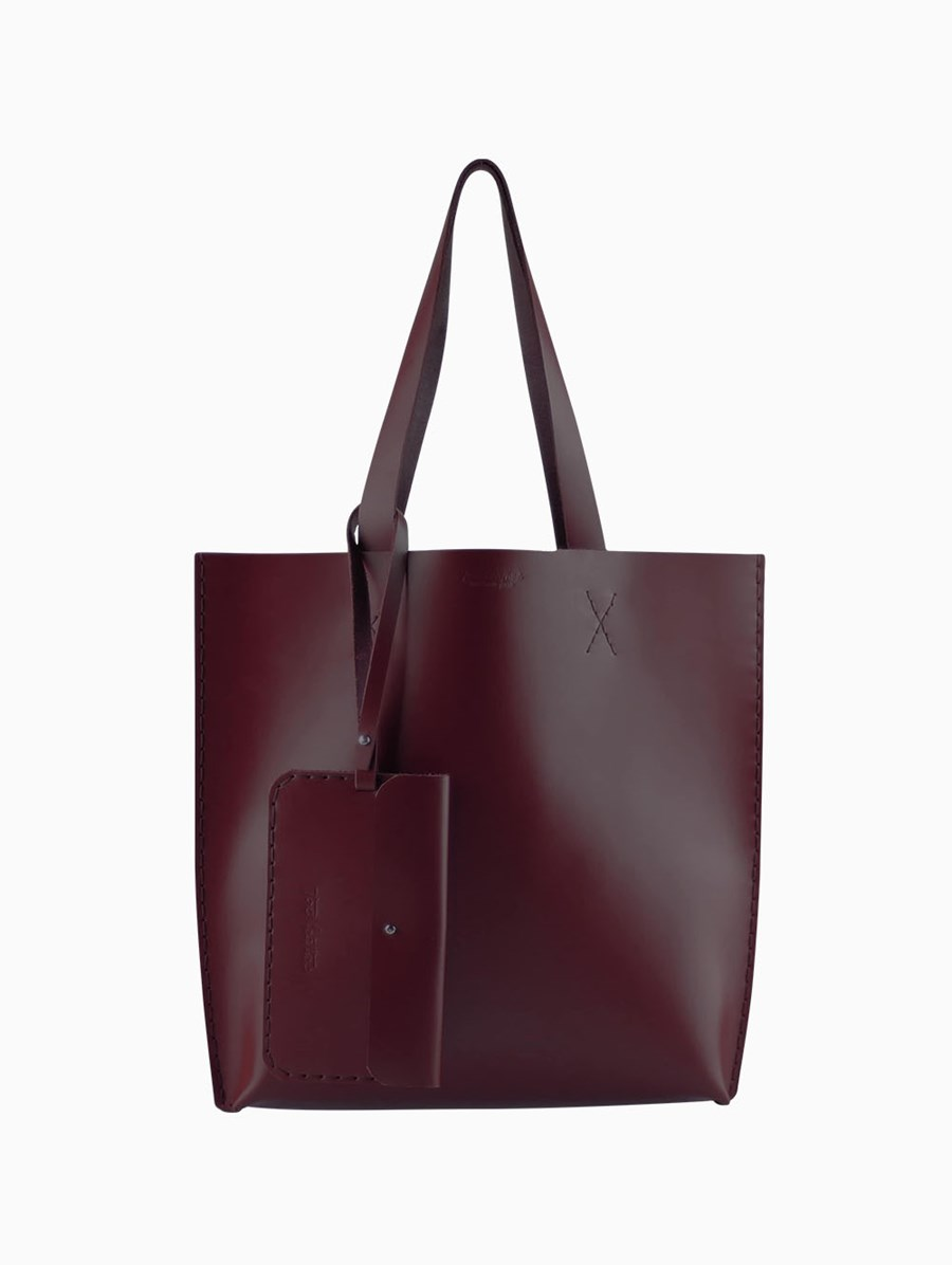 Tox Leather Bordo Smooth Tote Bag