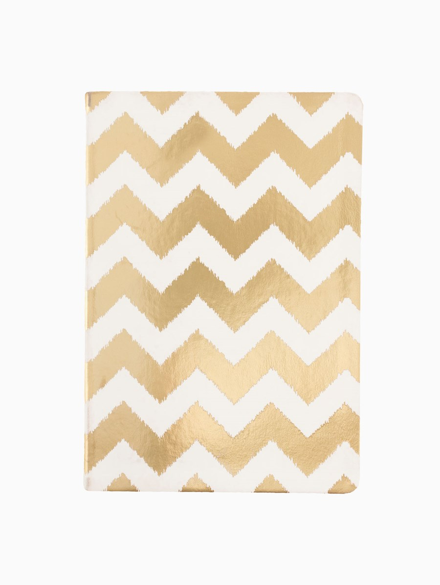 Eccolo Metallic Gold Chevron Not Defteri