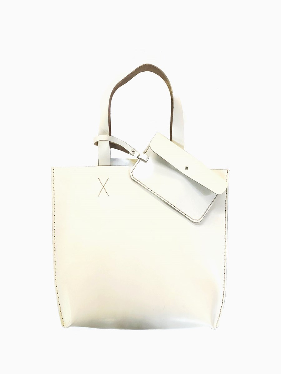 Tox Leather Beyaz Smooth Tote Fanta